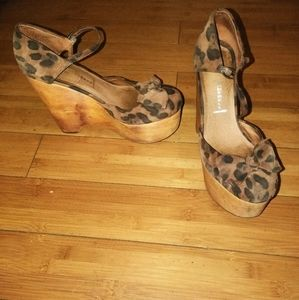 Genuine Leather Leopard Print Mary Jane Wedges